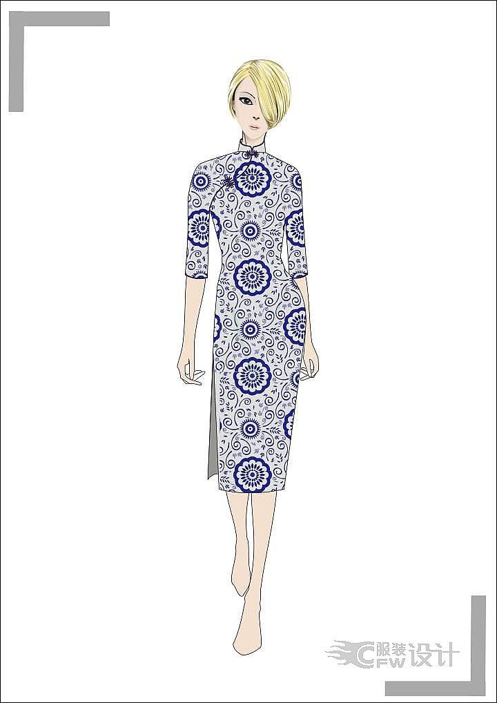 青花旗袍-婚纱礼服设计-服装设计
