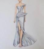 银色闪钻设计礼服
