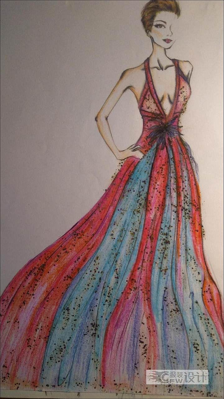 手绘礼服作品-手绘礼服款式图