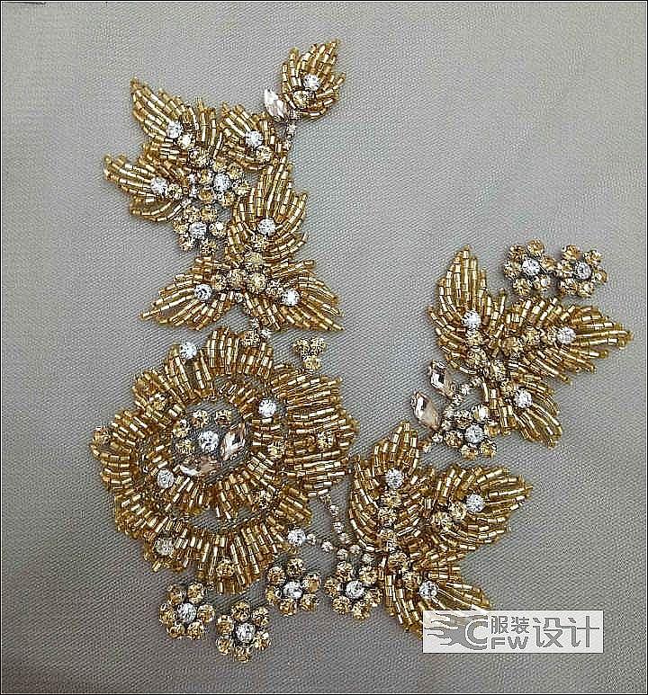 欧洲晚礼服钉珠小样作品-欧洲晚礼服钉珠小样款式图