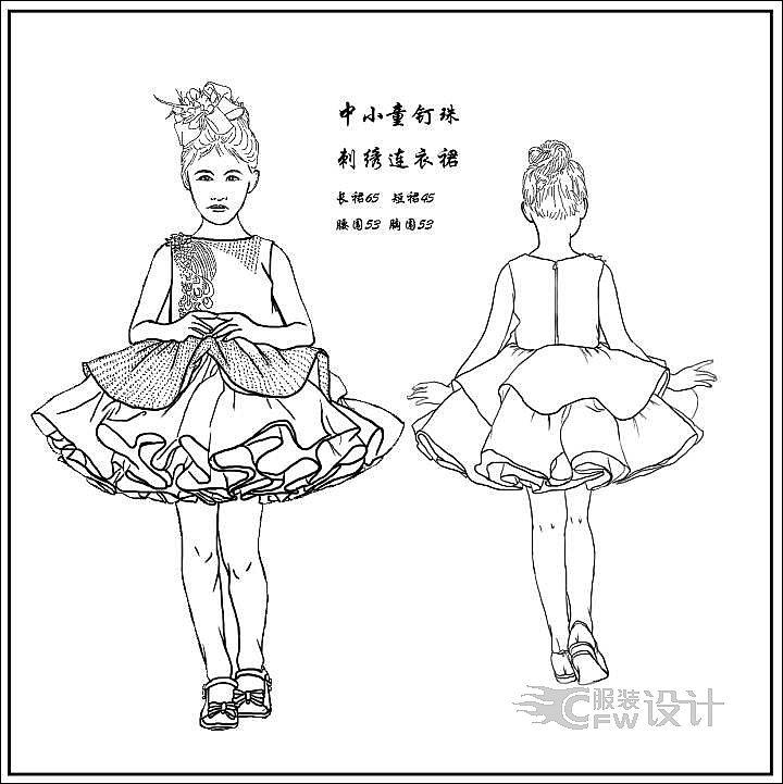 童装连衣裙款作品-童装连衣裙款款式图