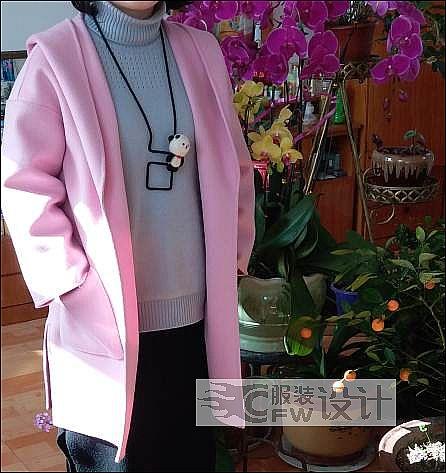 粉色双面羊绒大衣作品-粉色双面羊绒大衣款式图