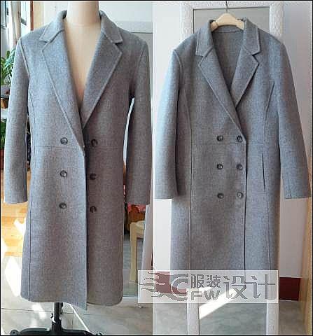 中长款双面绒女士大衣作品-中长款双面绒女士大衣款式图