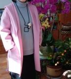 粉色双面羊绒大衣