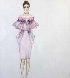 张婧礼服设计手绘作品