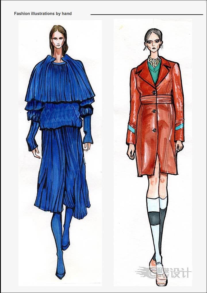 服装手绘作品-服装手绘款式图