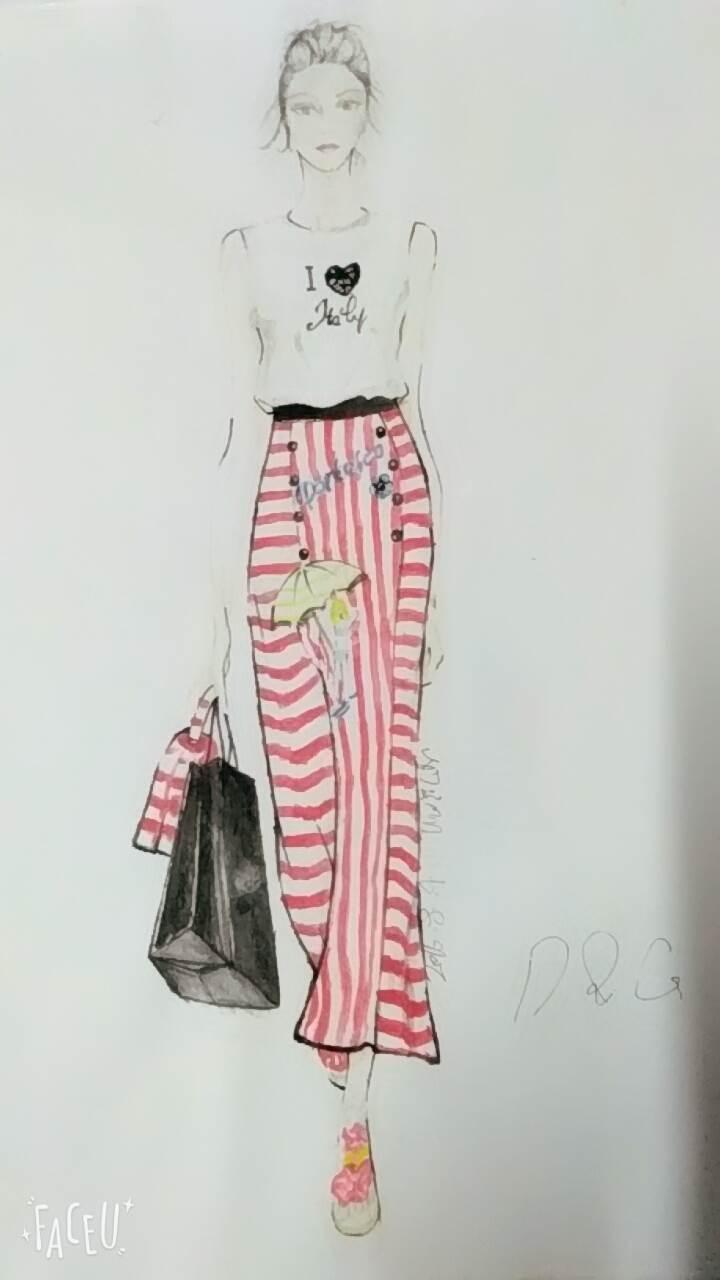彩铅时装画-女装设计-服装设计