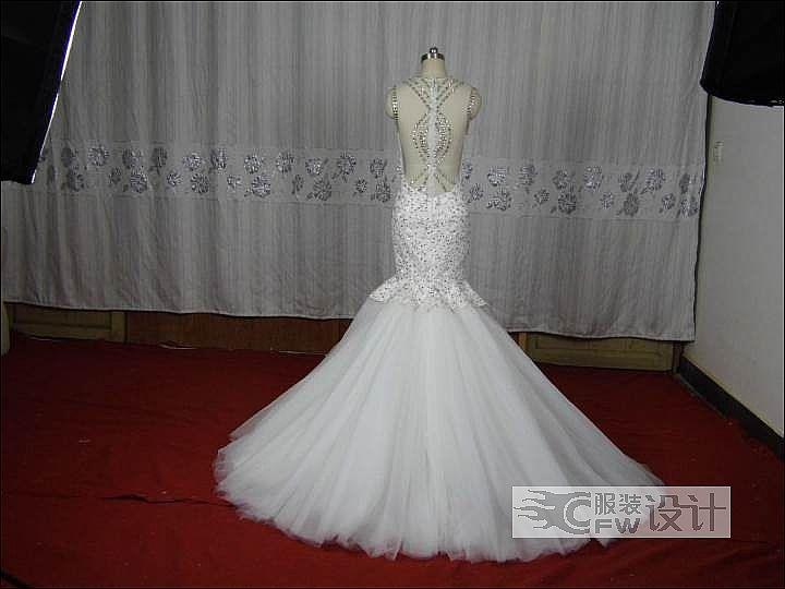 谢梦同款鱼尾婚纱-婚纱礼服设计-服装设计