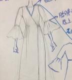 荷叶边袖高腰雪纺连衣裙