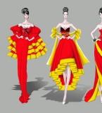 中式风格的礼服设计