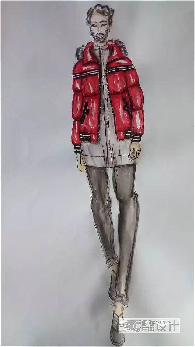 红色羽绒服作品-红色羽绒服款式图