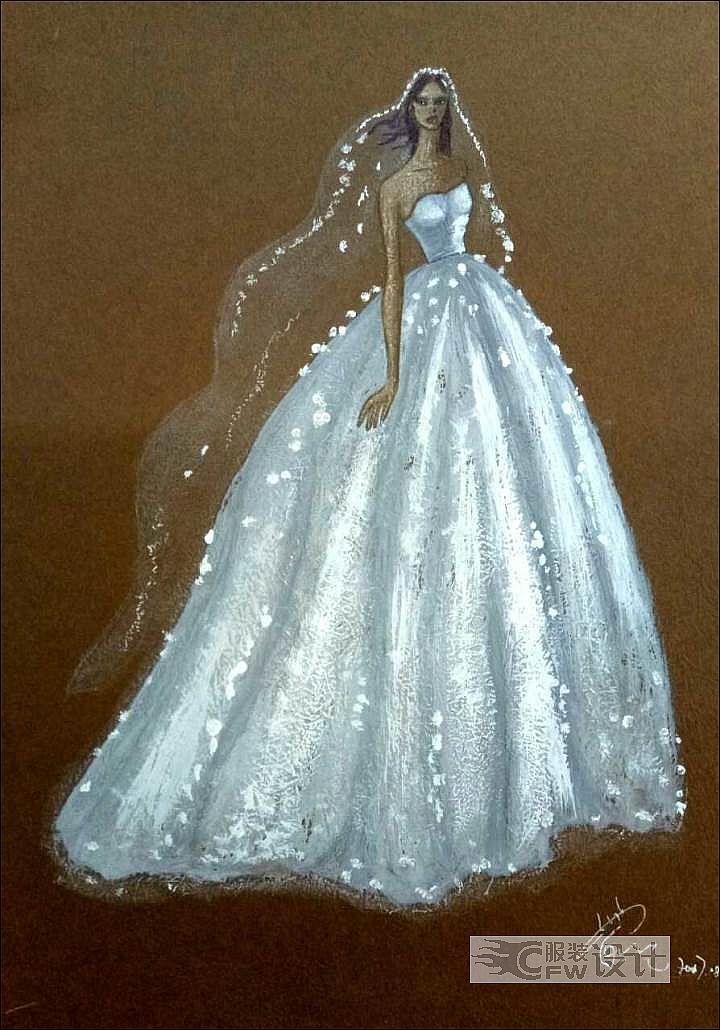 手绘图稿-婚纱礼服设计-服装设计