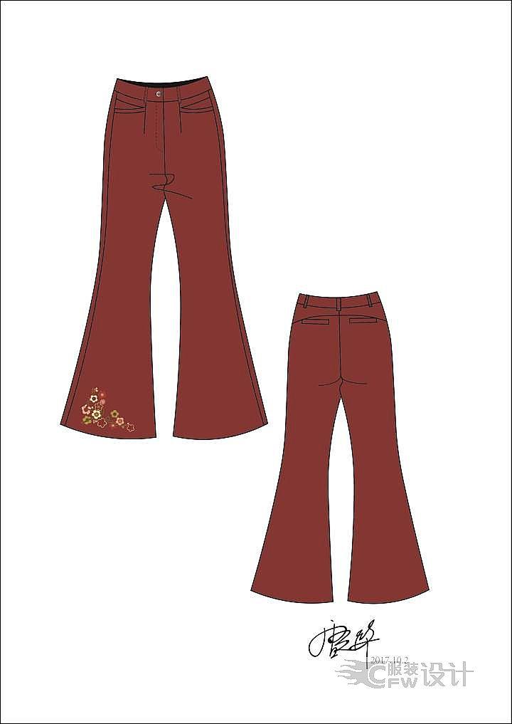 中国风民族风东方元素流行喇叭裤-女装设计-服装设计