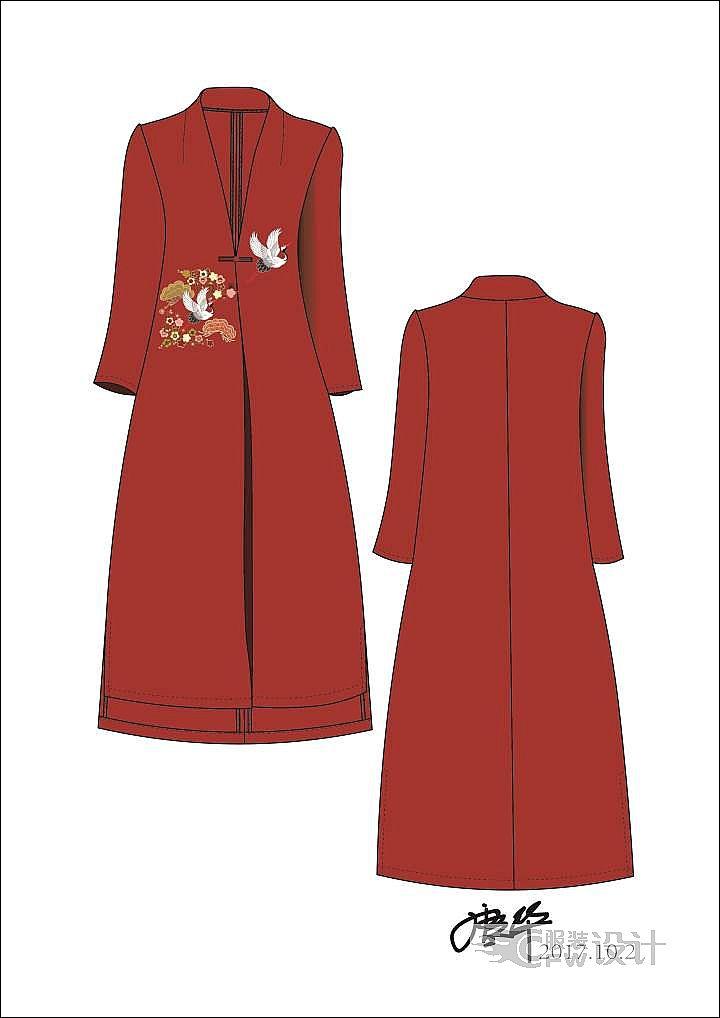 中国风民族风唐装长款流行外套作品-中国风民族风唐装长款流行外套款式图