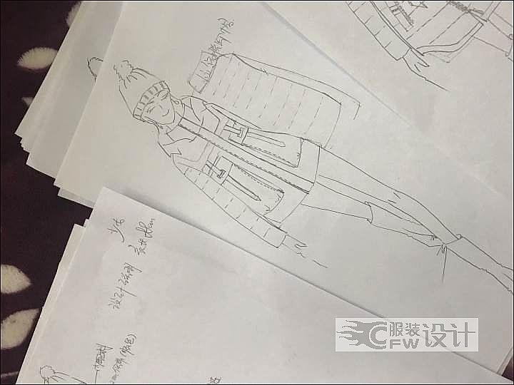 薄棉款式,羽绒服的成衣局部图作品-薄棉款式,羽绒服的成衣局部图款式图