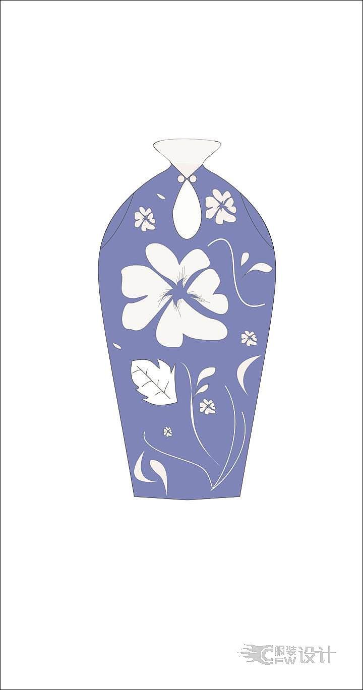 青花瓷旗袍作品-青花瓷旗袍款式图