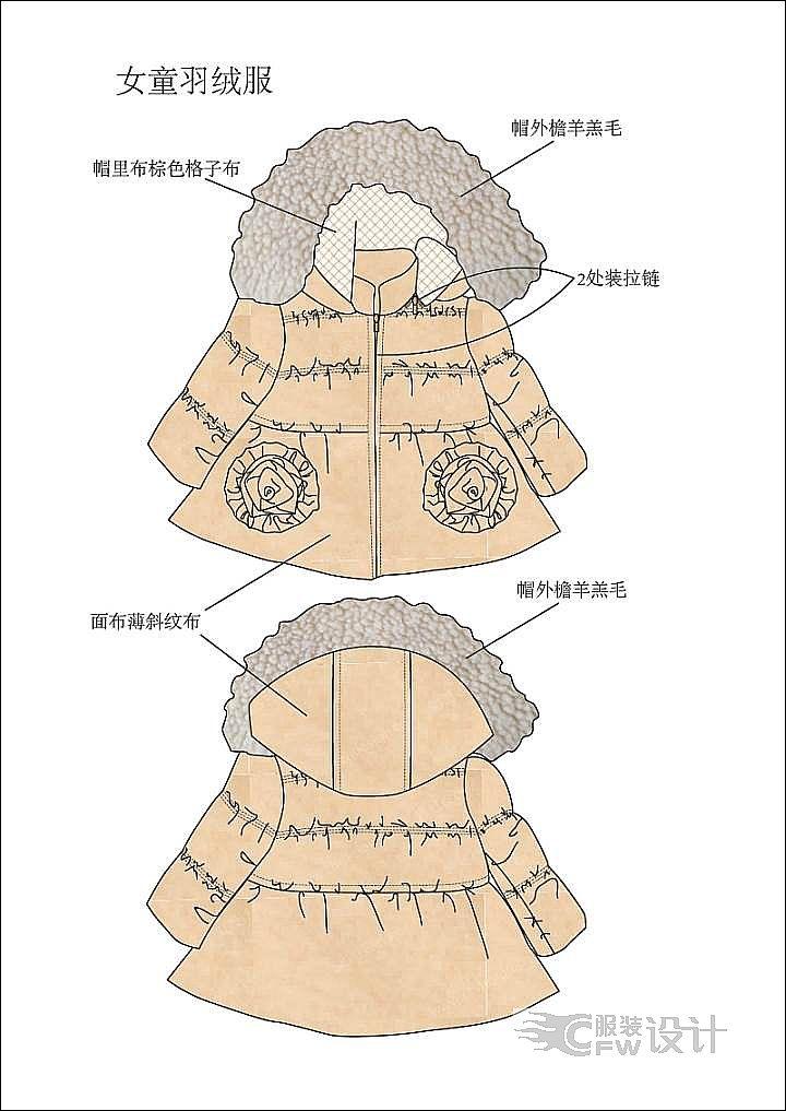 有机棉面料女小童棉服作品-有机棉面料女小童棉服款式图