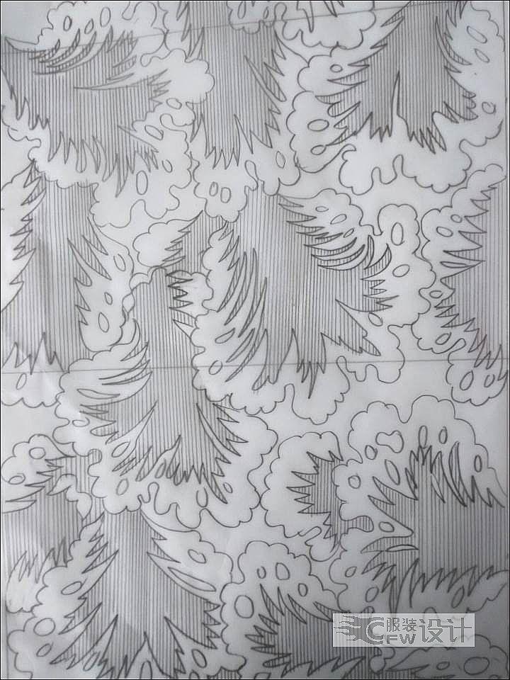 花形图案铅笔底稿作品-花形图案铅笔底稿款式图