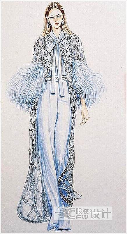 米兰国际时尚设计学院学员服装设计手绘作品