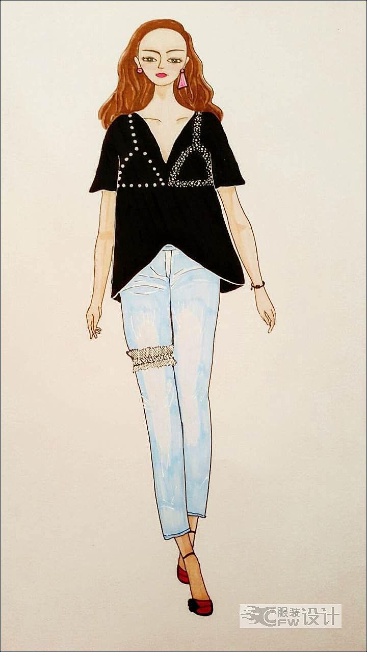 休闲装传出时尚感-女装设计-服装设计