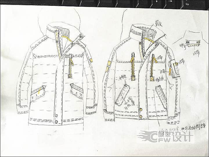 羽绒服手稿-男装设计-服装设计