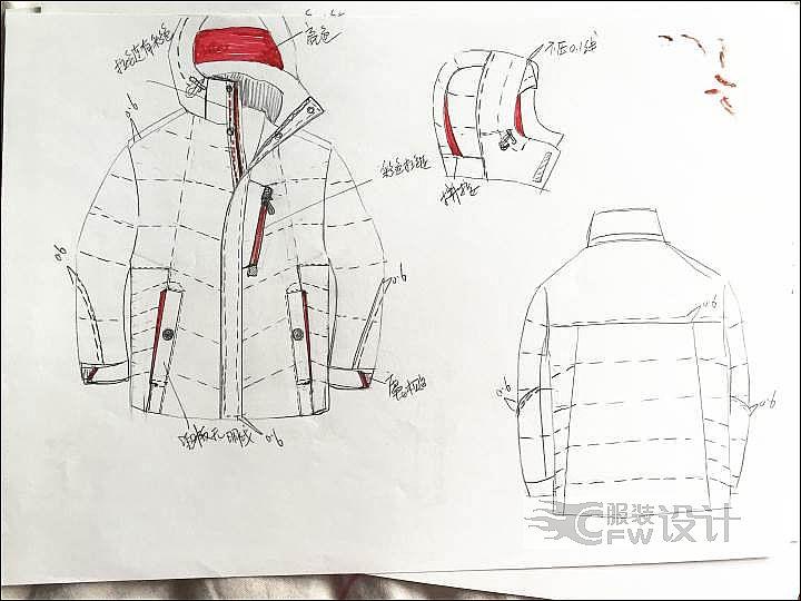 羽绒服手稿作品-羽绒服手稿款式图