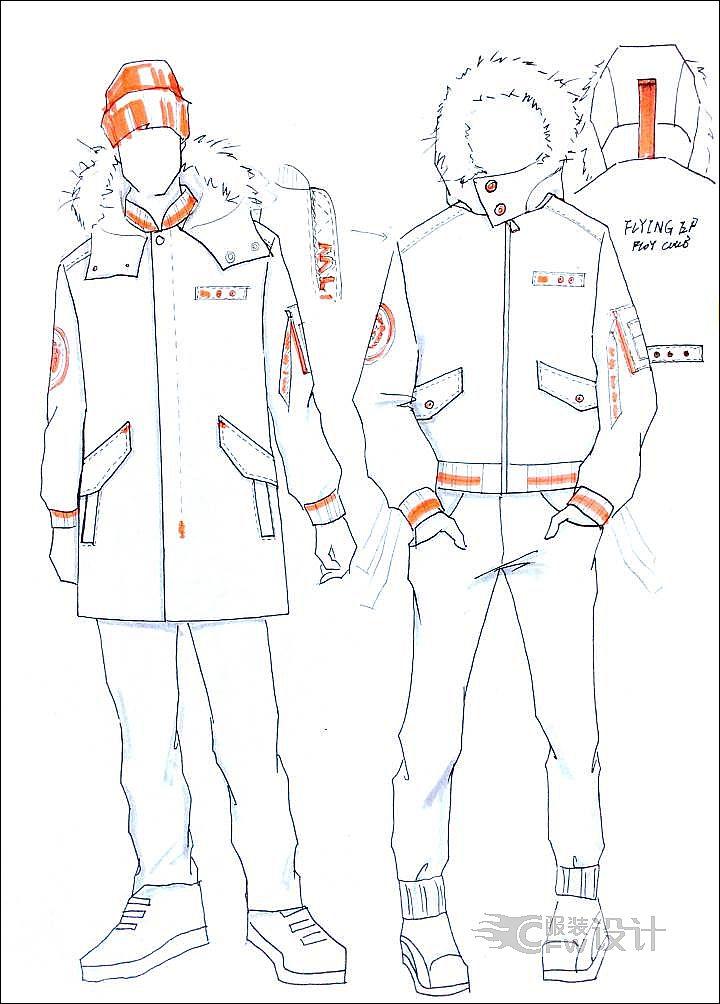 街头羽绒服手稿2-男装设计-服装设计