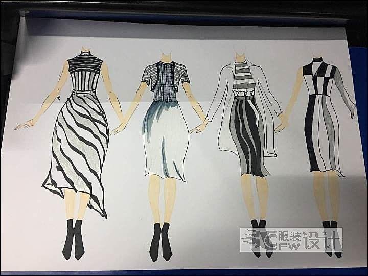 黑白-女装设计-服装设计