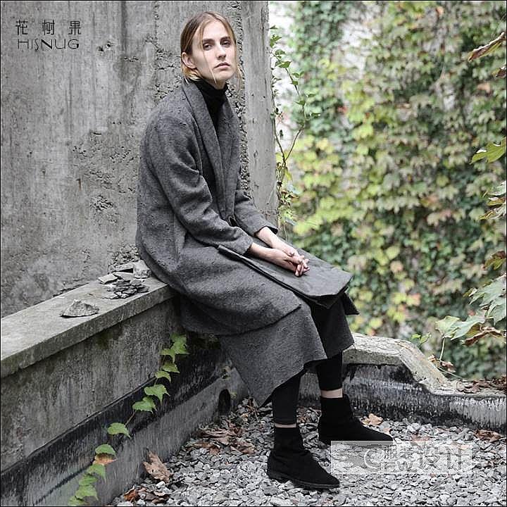 不对称呢大衣作品-不对称呢大衣款式图