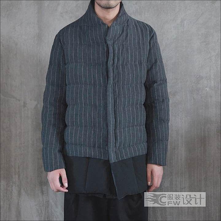 棉麻拼接条纹羽绒服作品-棉麻拼接条纹羽绒服款式图