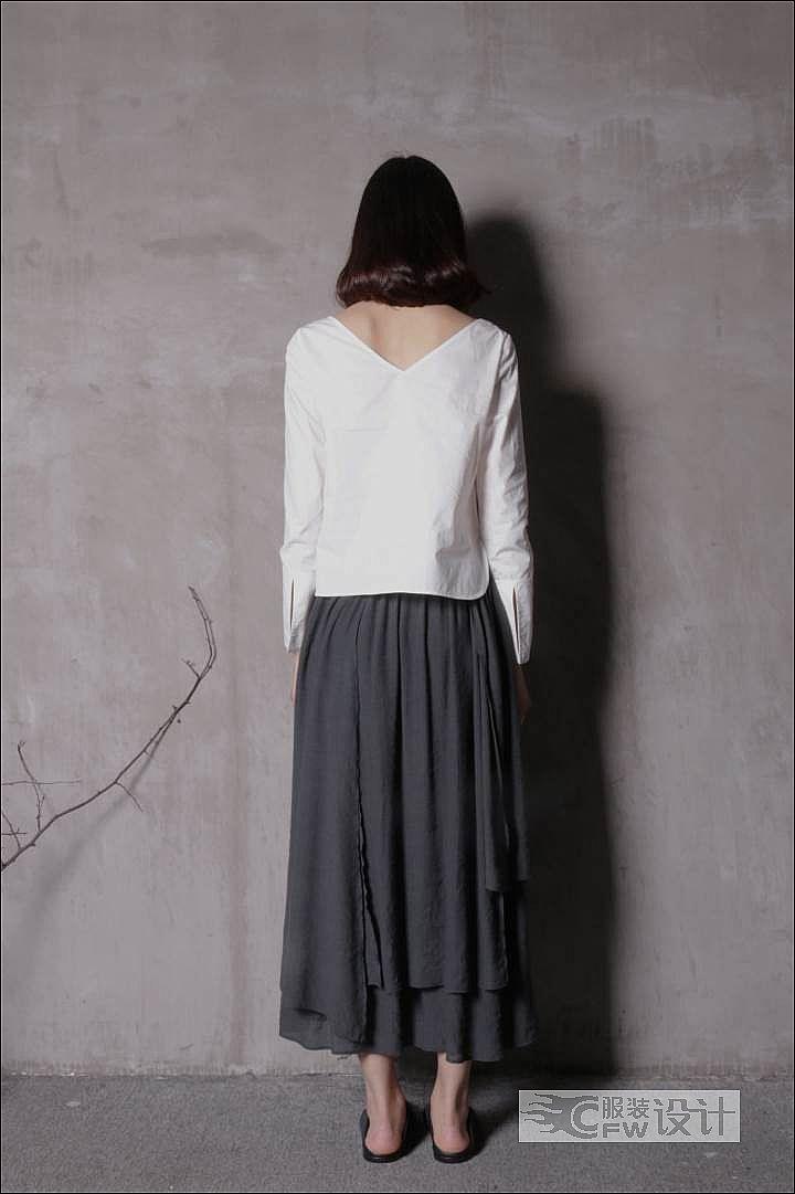 白衫+山水半裙作品-白衫+山水半裙款式图