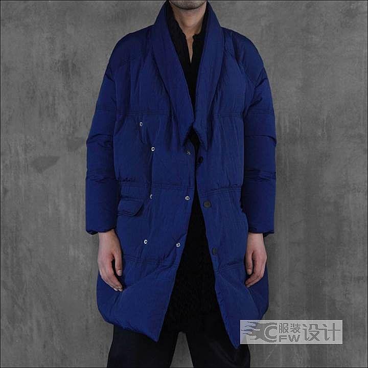 宝蓝大廓形羽绒服作品-宝蓝大廓形羽绒服款式图