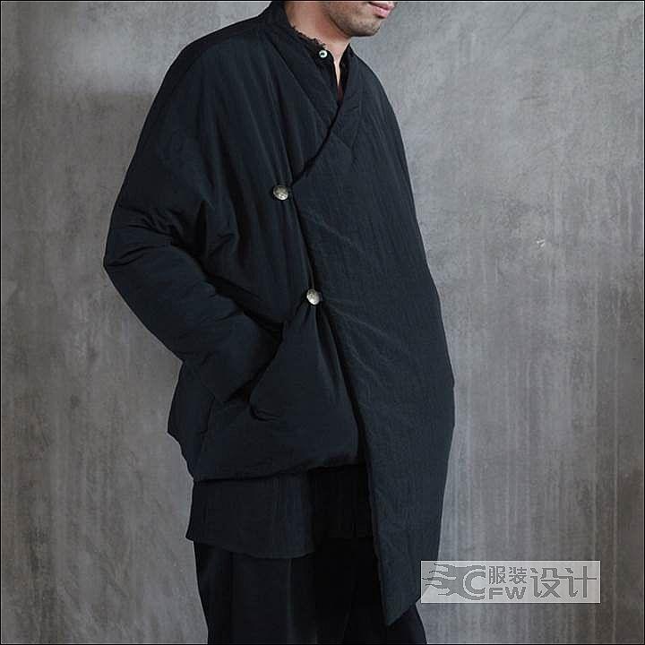 复古中式斜襟棉衣作品-复古中式斜襟棉衣款式图