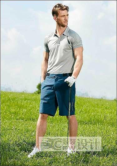 型男�\�语L反光印花短袖polo衫作品-型男�\�语L反光印花短袖polo衫款式图