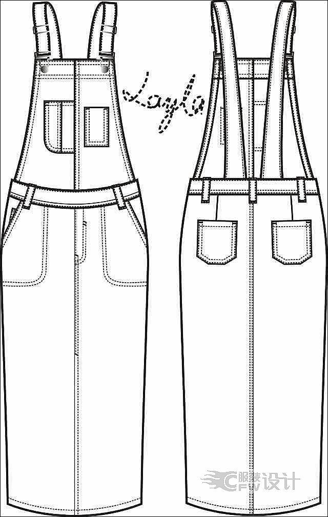 牛仔背带裤简笔画