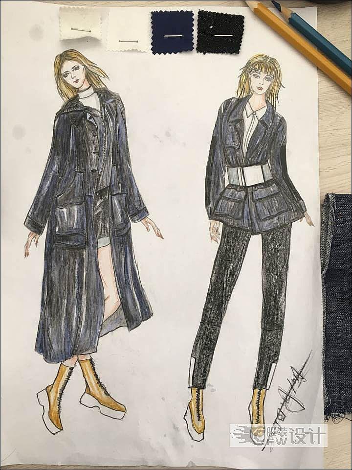 秋装风衣效果图系列作品-女装设计-服装设计