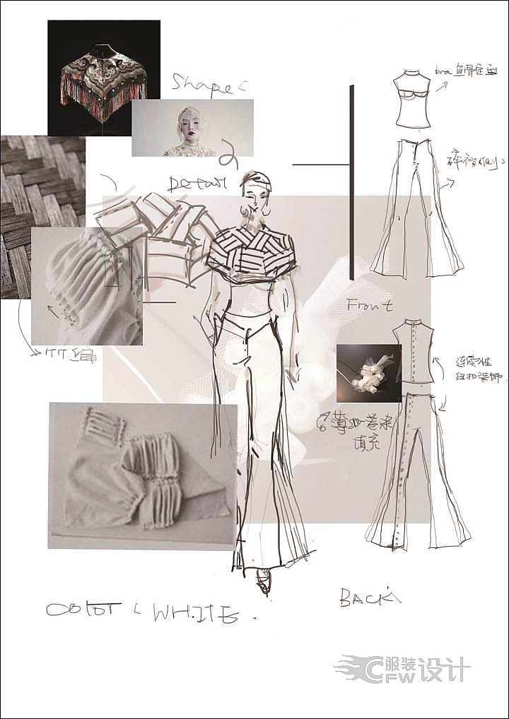 传统服饰云肩在现代服装中的创新应用作品-传统服饰云肩在现代服装中的创新应用款式图