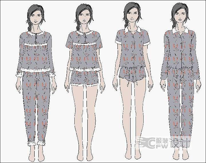 家居服装作品-家居服装款式图