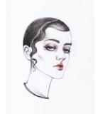 钢笔淡彩风的头像手绘