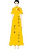 2017夏装棉麻秋香黄色连衣裙