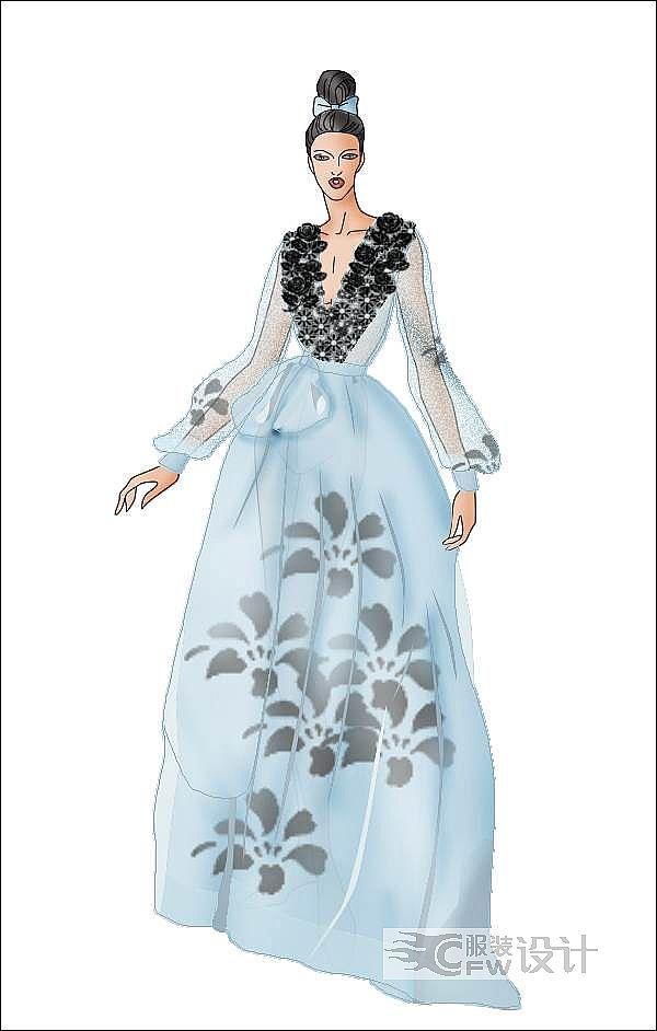 礼服效果图作品-礼服效果图款式图