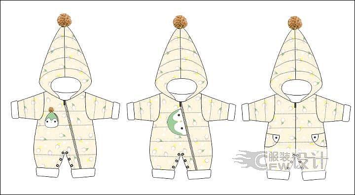 羽绒连身体作品-羽绒连身体款式图