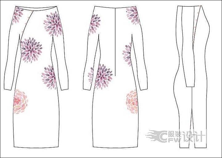 风之荷韵改良式旗袍-女装设计-服装设计