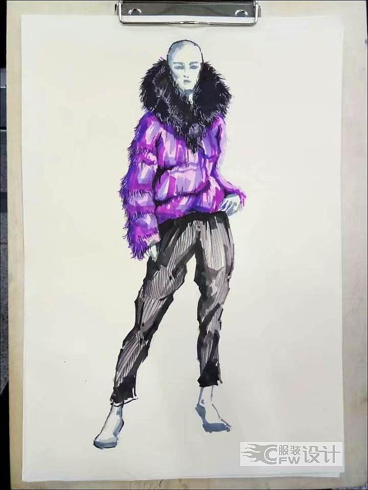 貂毛皮革大衣作品-貂毛皮革大衣款式图