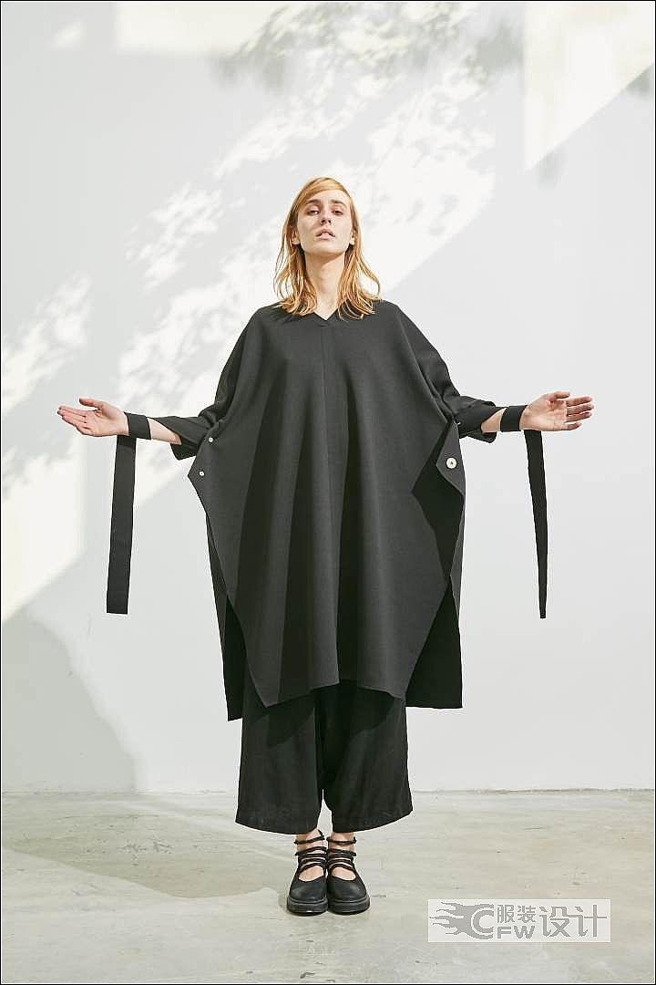 大廓形飘带罩袍连衣裙作品-大廓形飘带罩袍连衣裙款式图