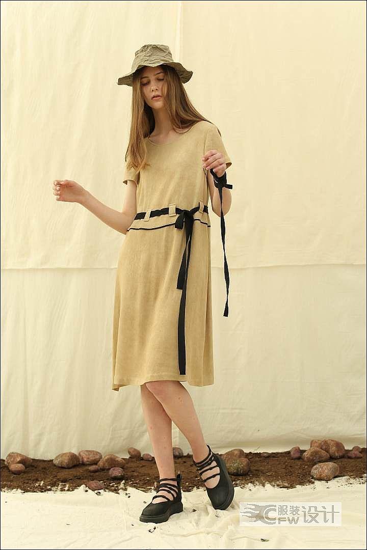 香槟卡其收腰系带短袖连衣裙作品-香槟卡其收腰系带短袖连衣裙款式图