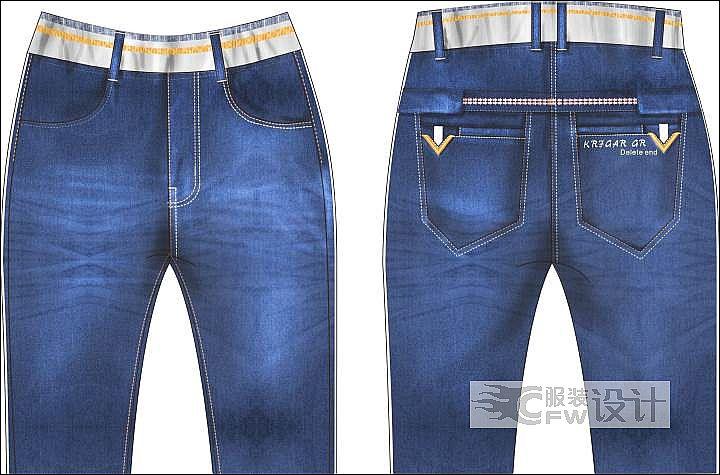 牛仔裤作品-牛仔裤款式图
