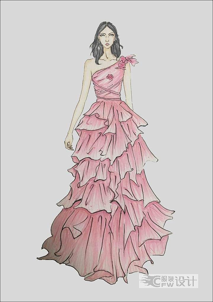 粉色礼服作品-粉色礼服款式图