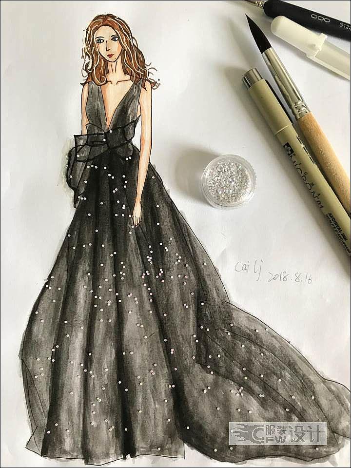 黑色欧根纱礼服作品-黑色欧根纱礼服款式图