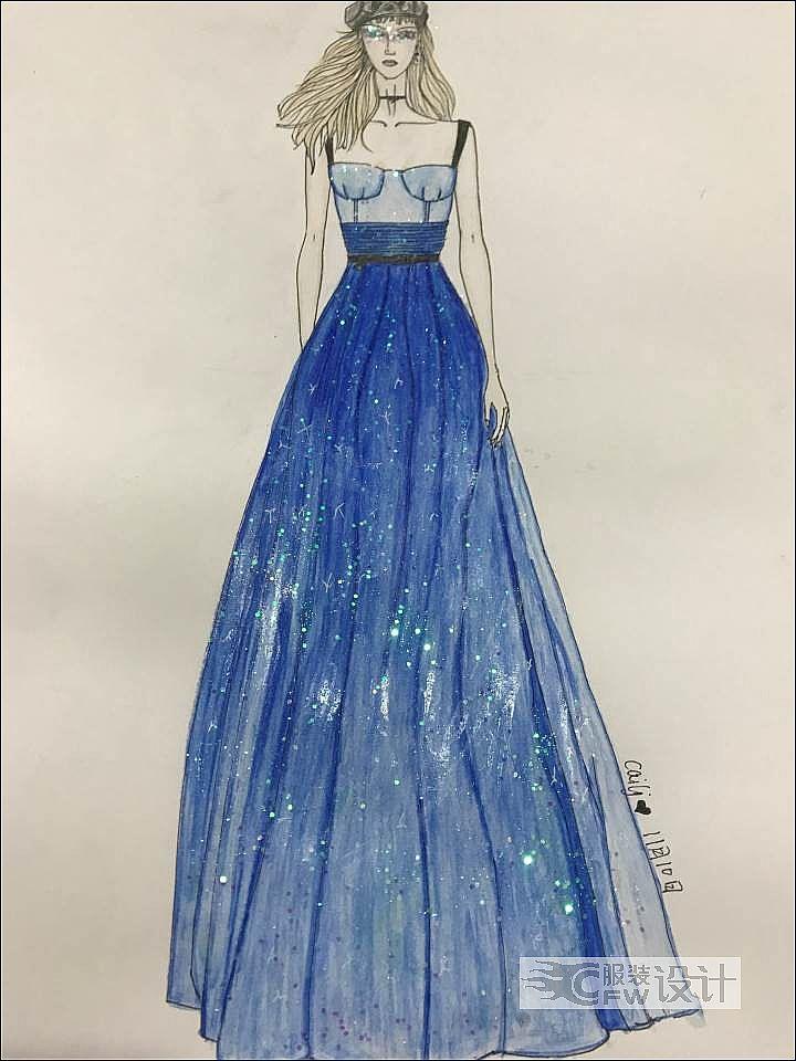 渐变星空裙作品-渐变星空裙款式图